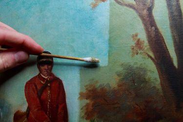 Allègement de vernis restauration de tableaux atelier osanne